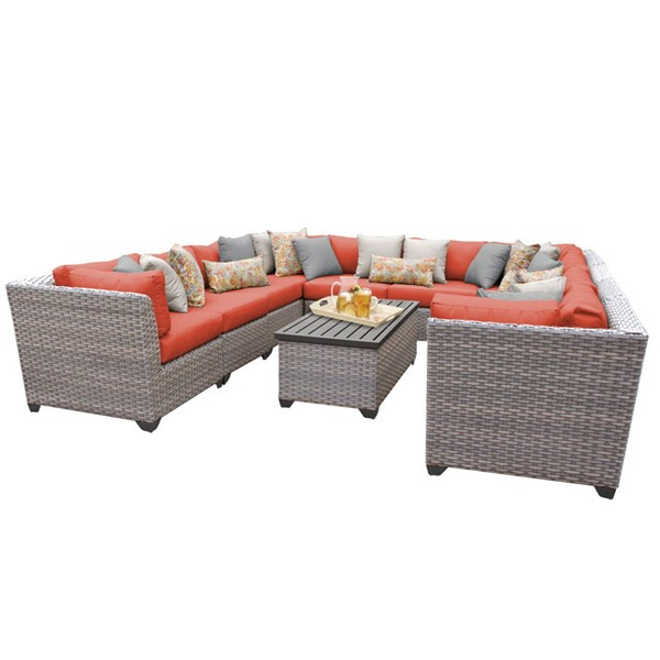 Home Roots Florence Tangerine Grey Stone Wicker 11pc Outdoor Sectional (11A) OCN-259767