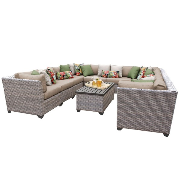 HomeRoots Florence Wheat Grey Stone Wicker 11pc Outdoor Sectional (11A) OCN-259769