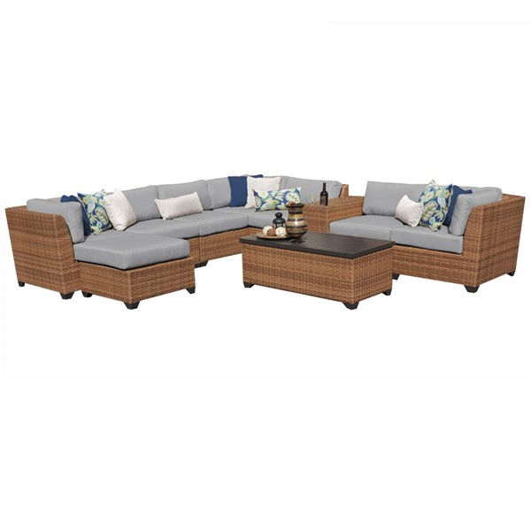 HomeRoots Laguna Grey Caramel Wicker 10pc Outdoor Sectional (10B) OCN-259954