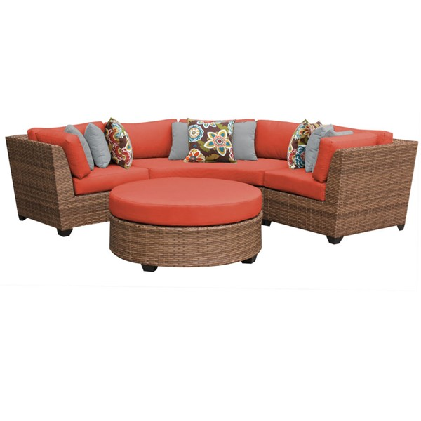 Home Roots Laguna Tangerine Outdoor Wicker Patio 4pc Furniture Set (04A) OCN-259981