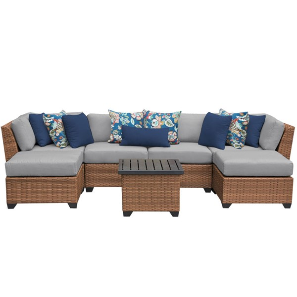 Home Roots Laguna Grey Outdoor Wicker Patio 7pc Furniture Set (07A) OCN-259996
