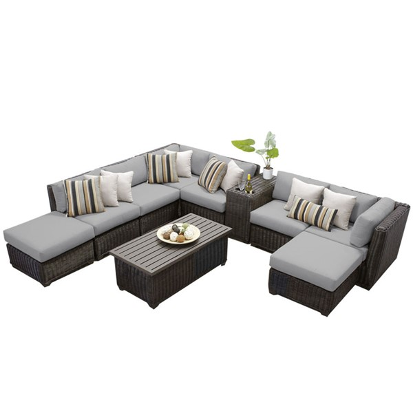 HomeRoots Venice Grey Chestnut Brown Wicker 10pc Outdoor Sectional (10A) OCN-260094