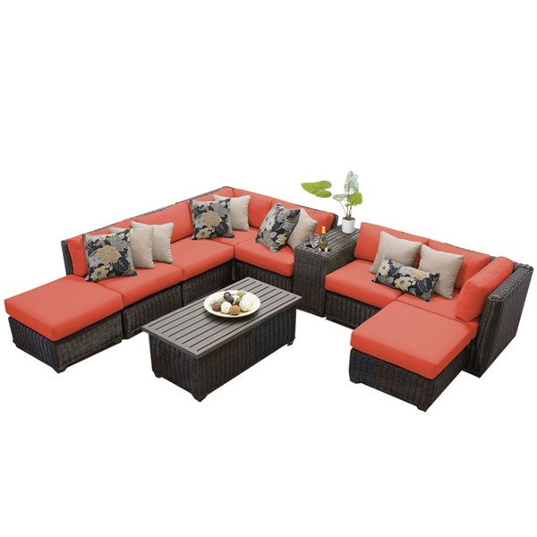 Home Roots Venice Tangerine Chestnut Brown Wicker 10pc Outdoor Sectional (10A) OCN-260095