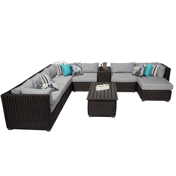 Home Roots Venice Grey Chestnut Brown Wicker 10pc Outdoor Sectional (10B) OCN-260096