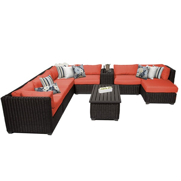 HomeRoots Venice Tangerine Chestnut Brown Wicker 10pc Outdoor Sectional (10B) OCN-260097