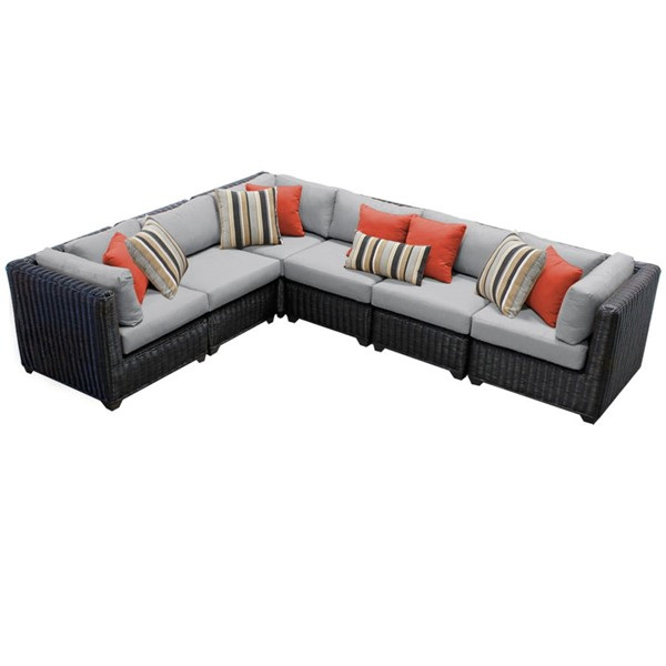 Home Roots Venice Grey Chestnut Brown Wicker 6pc Outdoor Sectional (06B) OCN-260112