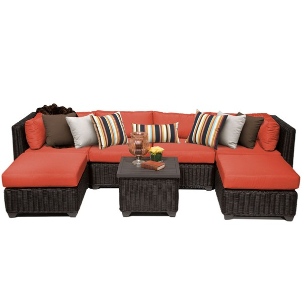 Home Roots Tangerine Outdoor Wicker Patio 7pc Furniture Set (07A) OCN-260117