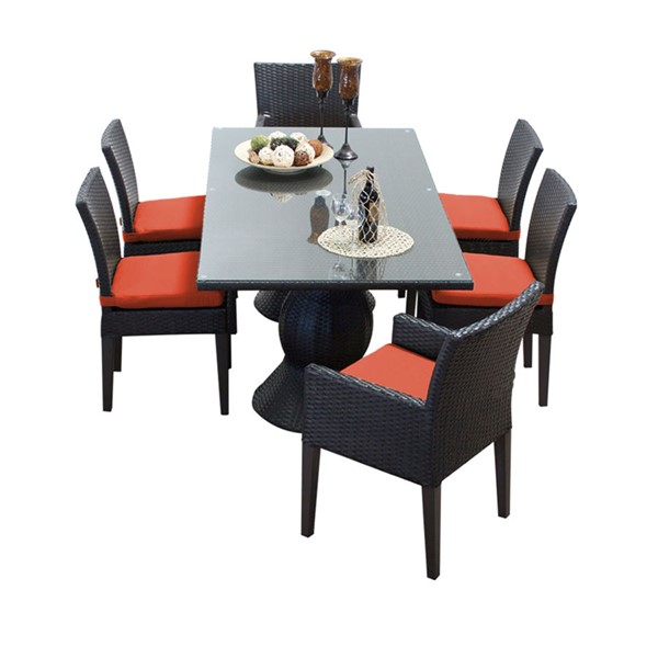 Home Roots Napa Tangerine Rectangular Patio Outdoor Dining Sets with 4 Armless Chairs OCN-260181