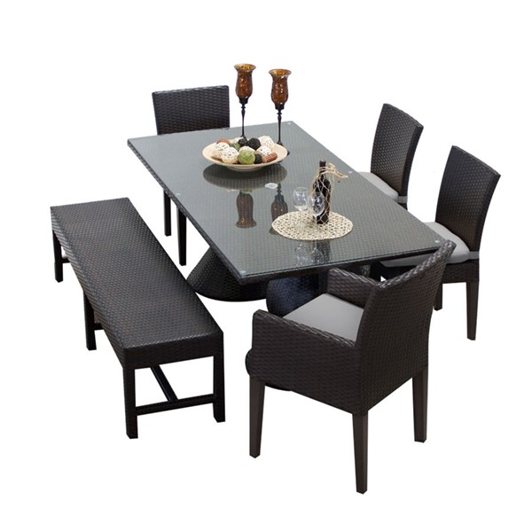 HomeRoots Napa Rectangular Patio Outdoor Dining Sets with 4 Chairs and 1 Bench OCN-260182-OT-DS-VAR