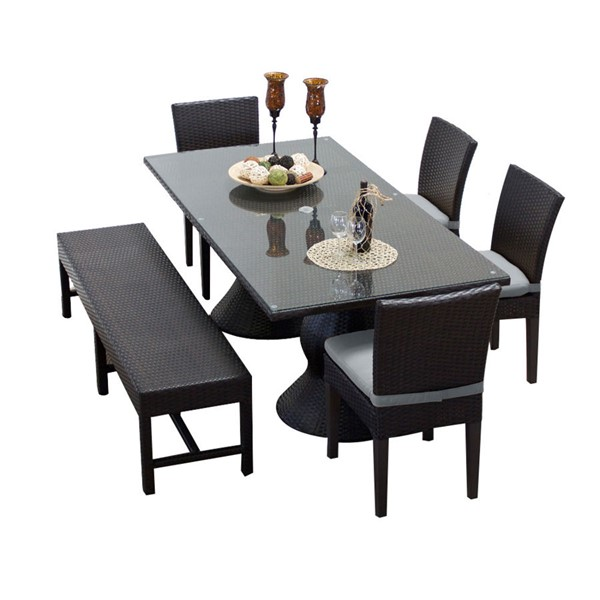 HomeRoots Napa Patio Rectangular Outdoor Dining Sets with 4 Chairs and 1 Bench OCN-260184-OT-DS-VAR