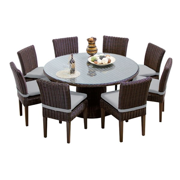 HomeRoots Venice Grey Tangerine 9pc Outdoor Dining Sets OCN-26019-OUT-DS-VAR1