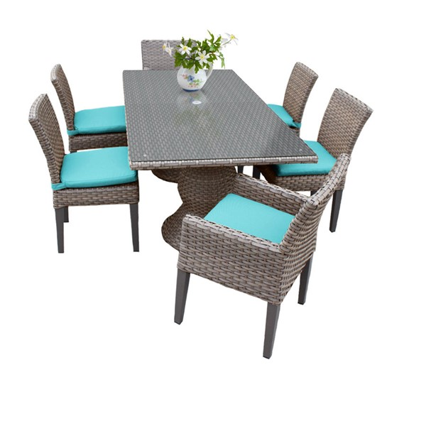 HomeRoots Oasis Rectangular Patio Outdoor Dining Sets with Armless Chairs OCN-260234-OT-DS-VAR