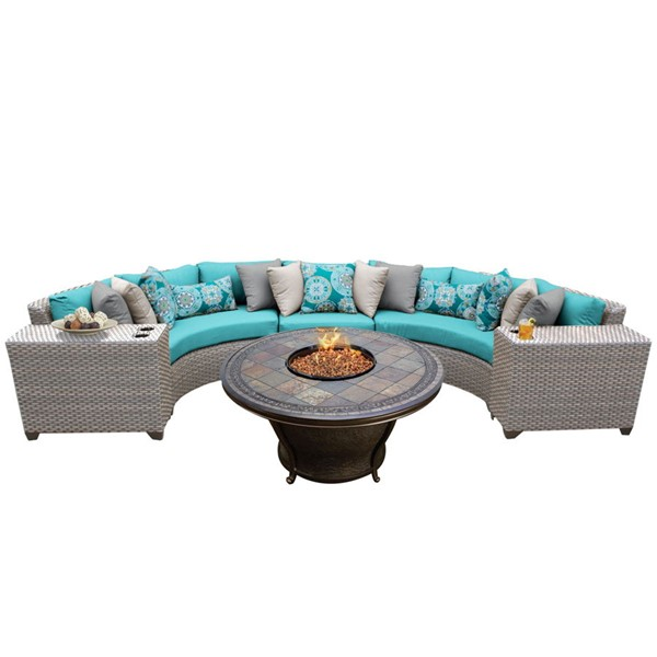 HomeRoots Florence Grey Stone Wicker 6pc Outdoor Sectionals (06H) OCN-26040-OUT-SEC-VAR