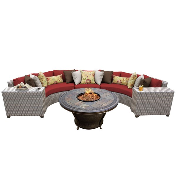 Home Roots Florence Terracotta Grey Stone Wicker 6pc Outdoor Sectional (06H) OCN-260417