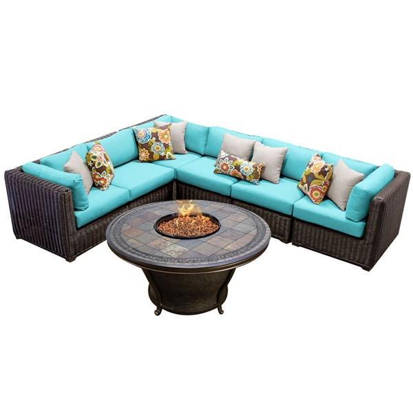 HomeRoots Venice Chestnut Brown Wicker 7pc Outdoor Sectionals (07G) OCN-26050-OUT-SEC-VAR