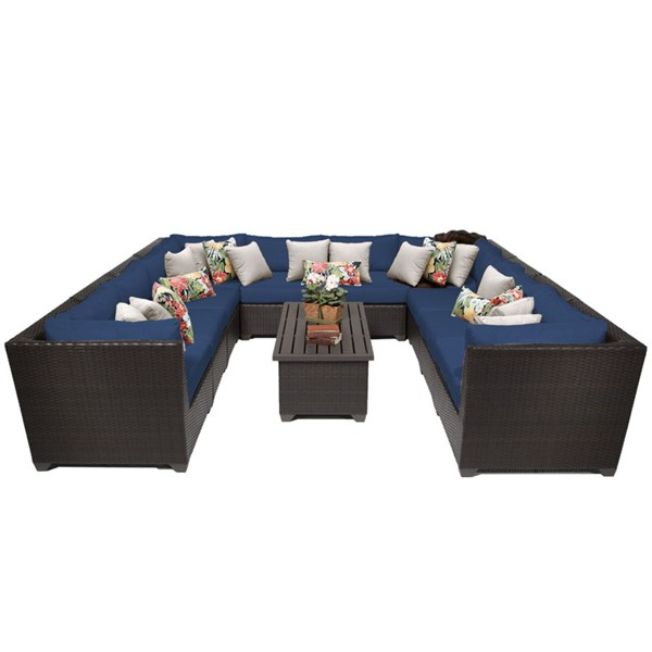 Home Roots Navy Espresso Wicker 11pc Outdoor Sectional (11A) OCN-260532