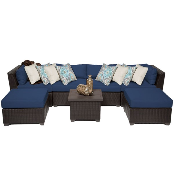 Home Roots Navy Outdoor Wicker Patio Modern 7pc Furniture Set (07A) OCN-260556