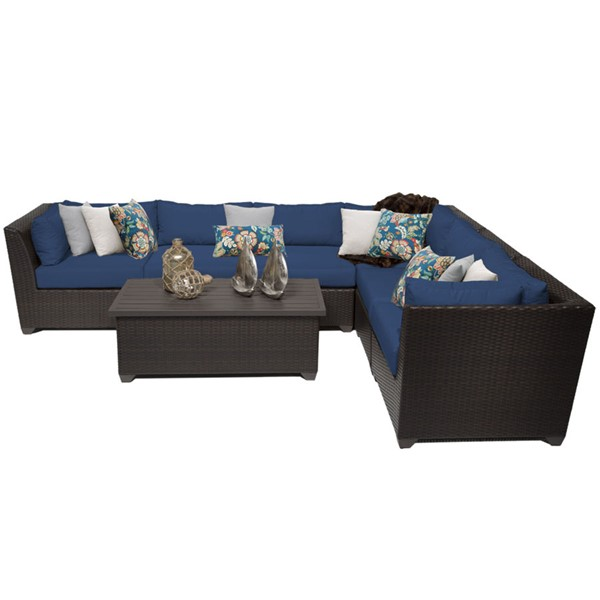 Home Roots Navy Outdoor Wicker Patio 7pc Furniture Set (07B) OCN-260557