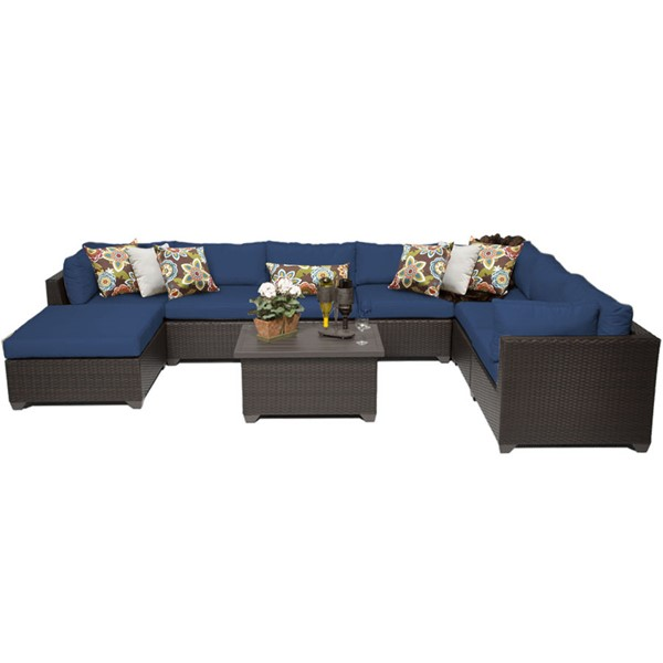 HomeRoots Belle Navy Outdoor Wicker Patio 9pc Furniture Set (09B) OCN-260584