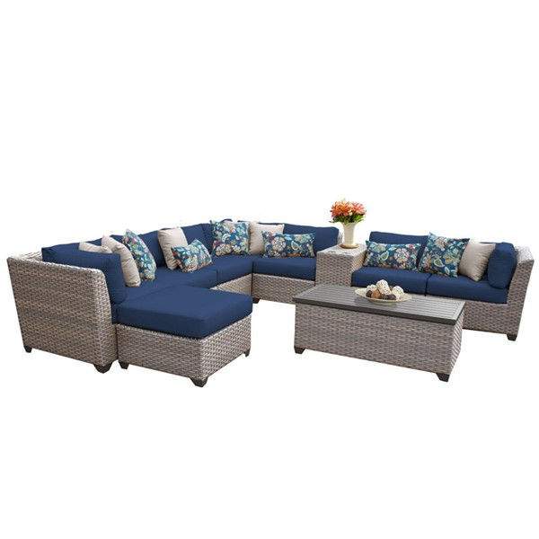HomeRoots Florence Navy Grey Stone Wicker 10pc Outdoor Sectional (10B) OCN-260616