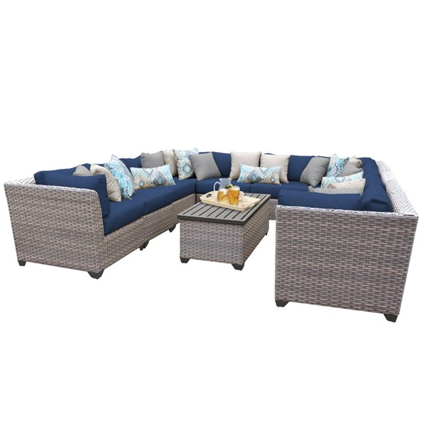 Home Roots Florence Navy Grey Stone Wicker 11pc Outdoor Sectional (11A) OCN-260617
