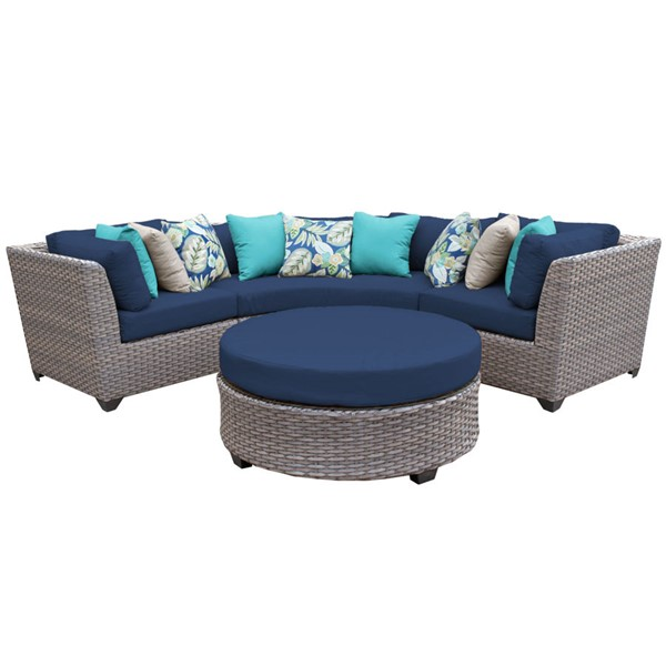 Home Roots Florence Navy Outdoor Wicker Patio 4pc Furniture Set (04A) OCN-260630