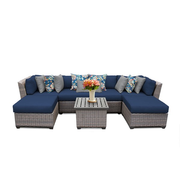 Home Roots Florence Navy Outdoor Wicker Patio 7pc Furniture Set (07A) OCN-260638