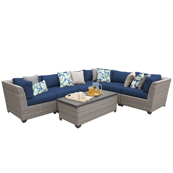 Home Roots Florence Navy Outdoor Wicker Patio 7pc Furniture Set (07B) OCN-260639