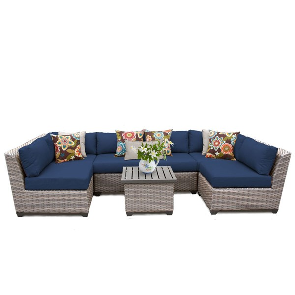 HomeRoots Florence Navy Outdoor Wicker Patio 7pc Furniture Set (07C) OCN-260640