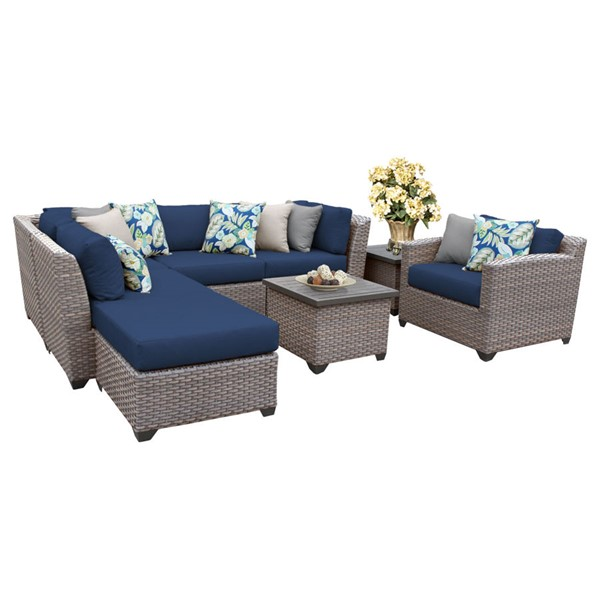 Home Roots Florence Navy Outdoor Wicker Patio 8pc Furniture Set (08G) OCN-260648