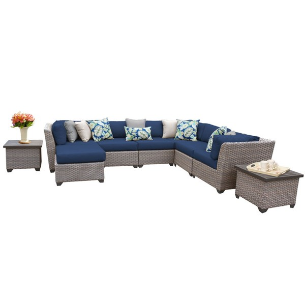 HomeRoots Florence Navy Grey Stone Wicker 9pc Outdoor Sectional (09C) OCN-260650