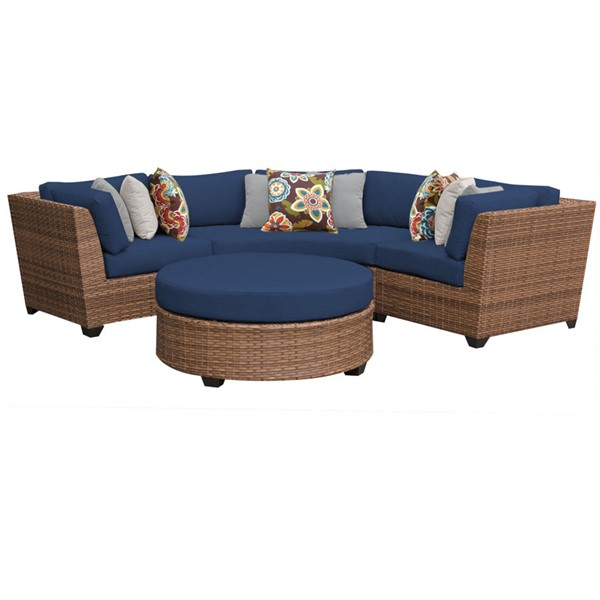 Home Roots Laguna Navy Outdoor Wicker Patio 4pc Furniture Set (04A) OCN-260675