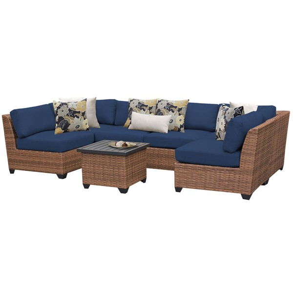 HomeRoots Laguna Navy Outdoor Wicker Patio 7pc Furniture Set (07C) OCN-260685