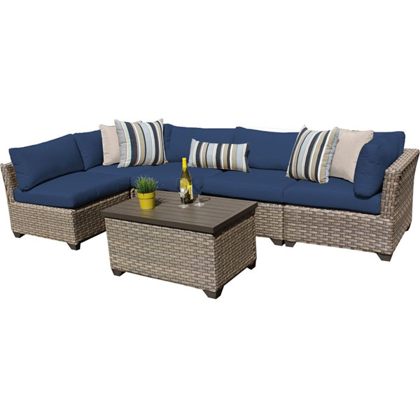 Home Roots Monterey Navy Outdoor Wicker Patio 6pc Furniture Set (06A) OCN-260734