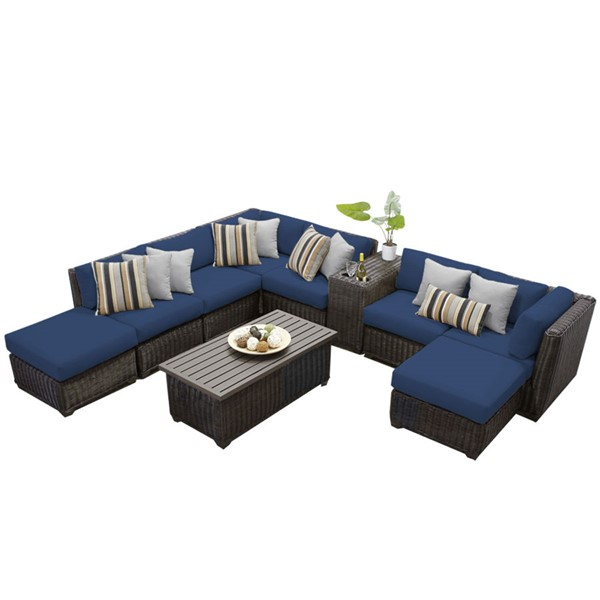 Home Roots Venice Navy Chestnut Brown Wicker 10pc Outdoor Sectional (10A) OCN-260775