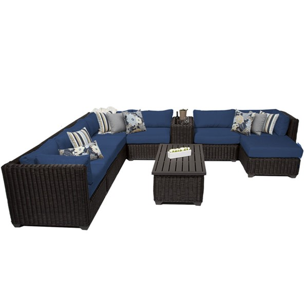 Home Roots Venice Navy Chestnut Brown Wicker 10pc Outdoor Sectional (10B) OCN-260776