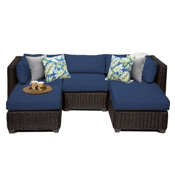 Home Roots Navy Outdoor Wicker Patio 5pc Furniture Set (05A) OCN-260783