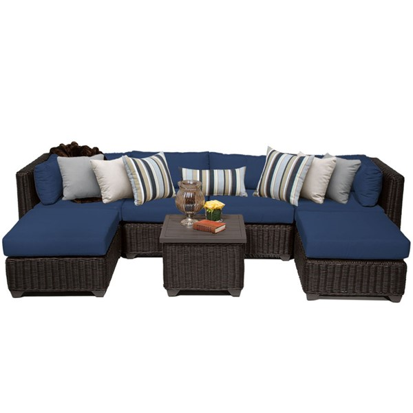 Home Roots Navy Outdoor Wicker Patio 7pc Furniture Set (07A) OCN-260789