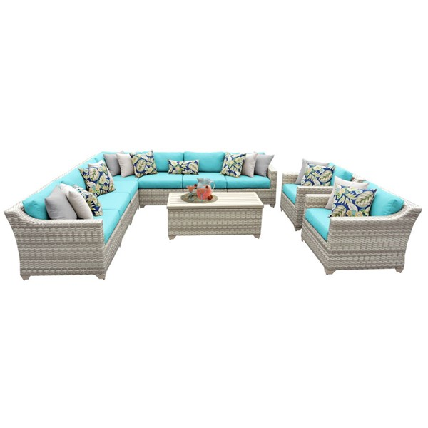 HomeRoots Vanilla Creme Wicker 10pc Outdoor Seating Sets (10A) OCN-26081-OUT-SS-VAR