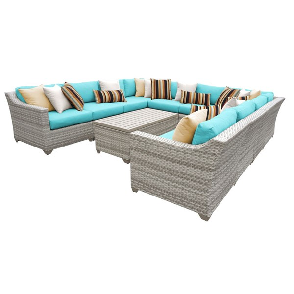 Home Roots Aruba Vanilla Creme Wicker 11pc Outdoor Sectional (11A) OCN-260826