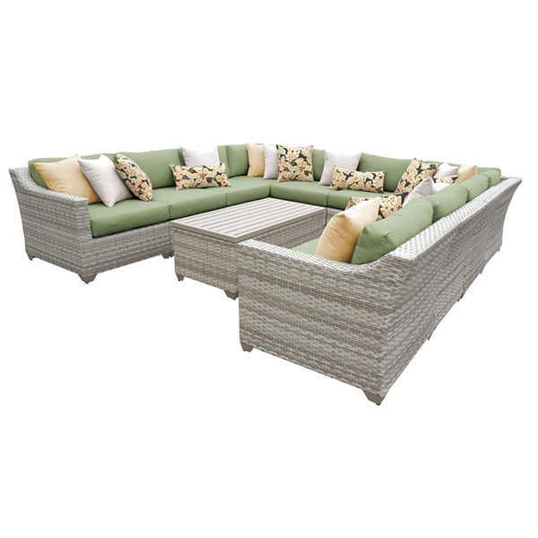 HomeRoots Cilantro Vanilla Creme Wicker 11pc Outdoor Sectional (11A) OCN-260828