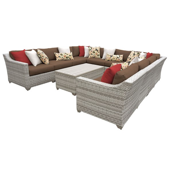 Home Roots Cocoa Vanilla Creme Wicker 11pc Outdoor Sectional (11A) OCN-260829