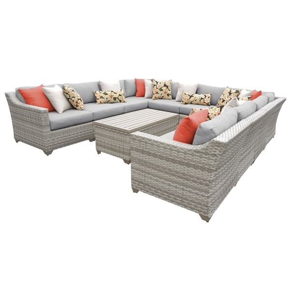 HomeRoots Grey Vanilla Creme Wicker 11pc Outdoor Sectional (11A) OCN-260830