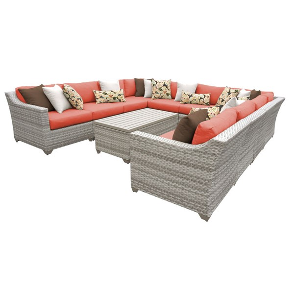 Home Roots Tangerine Vanilla Creme Wicker 11pc Outdoor Sectional (11A) OCN-260833
