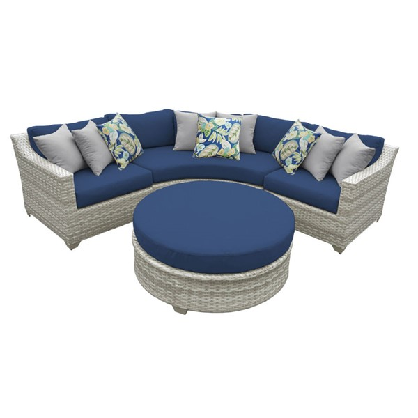 Home Roots Fairmont Navy Outdoor Wicker Patio 4pc Furniture Set (04A) OCN-260875