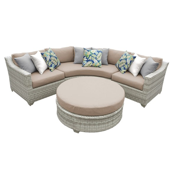 HomeRoots Fairmont Wheat Outdoor Wicker Patio 4pc Furniture Set (04A) OCN-260879