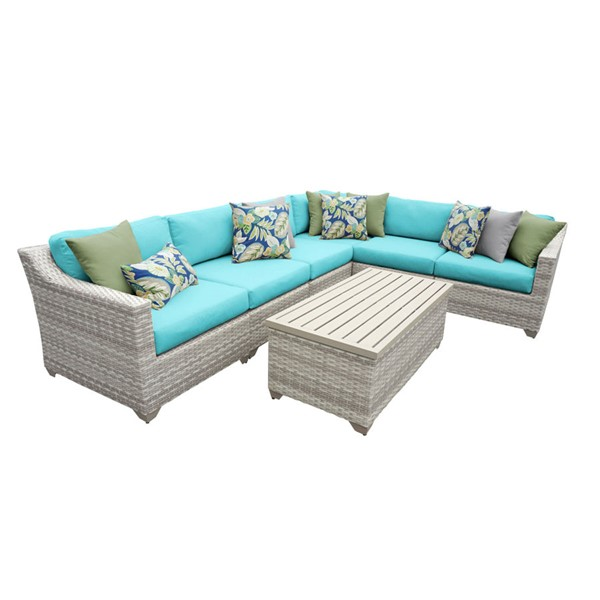 HomeRoots Fairmont Aruba Outdoor Wicker Patio 7pc Furniture Set (07B) OCN-260927