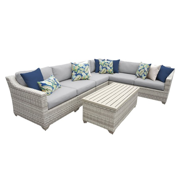 HomeRoots Fairmont Grey Outdoor Wicker Patio 7pc Furniture Set (07B) OCN-260931