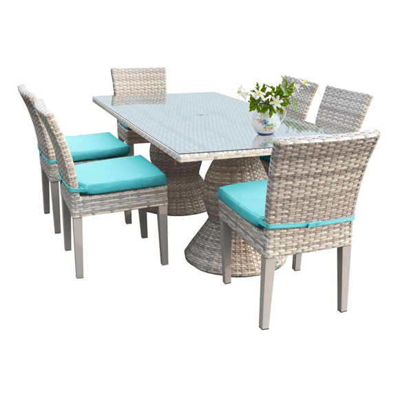 HomeRoots Fairmont Rectangular Patio Outdoor Dining Sets with 6 Armless Chairs OCN-260983-OT-DS-VAR