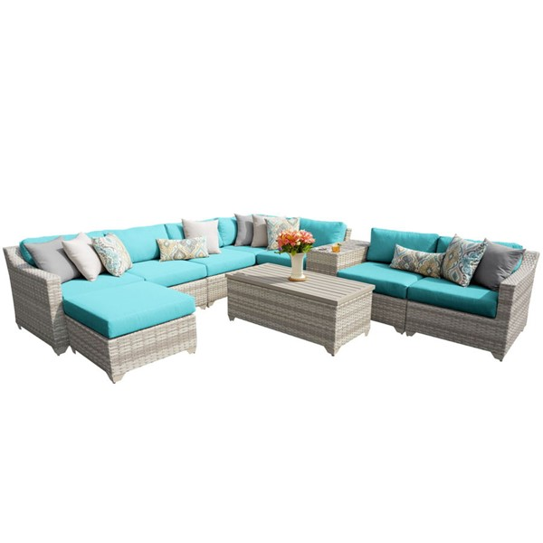 Home Roots Aruba Vanilla Creme Wicker 10pc Outdoor Sectional (10B) OCN-261021
